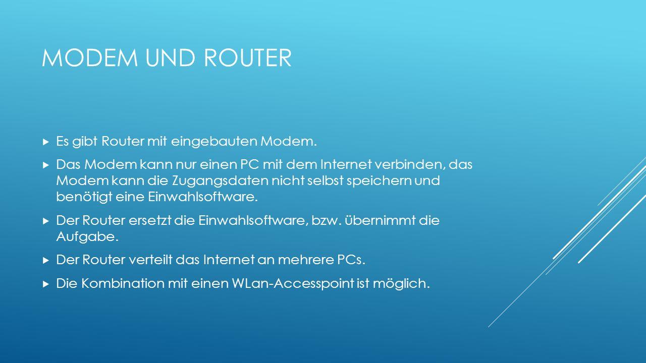 Modem und Router Es gibt Router mit eingebauten Modem.
