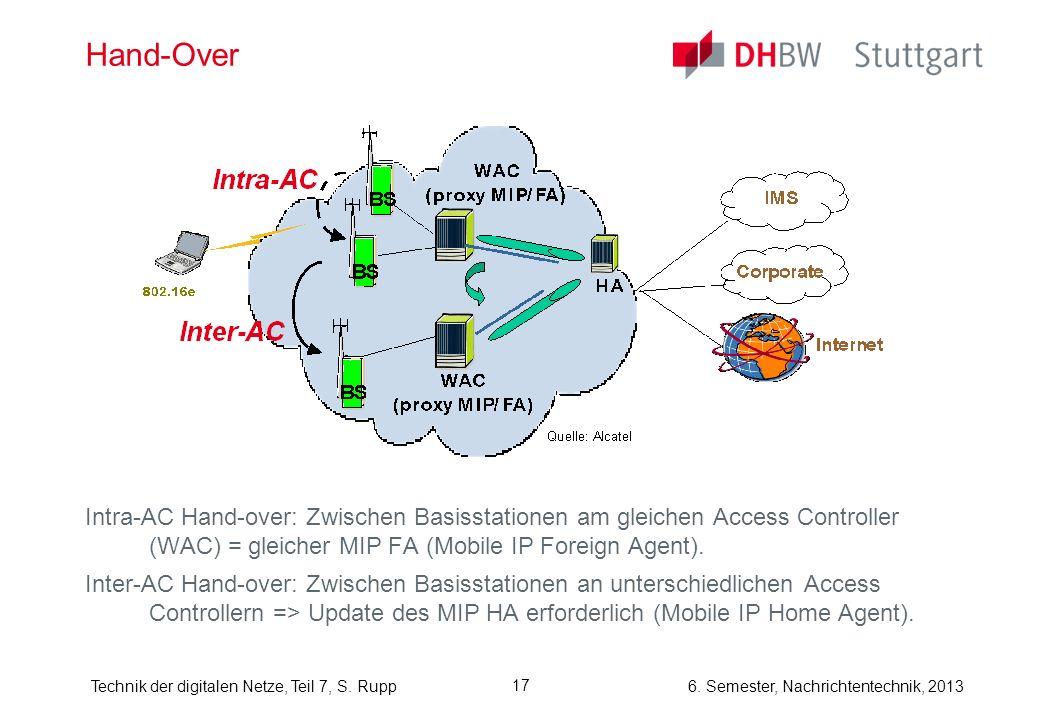 Hand-Over Intra-AC Hand-over: Zwischen Basisstationen am gleichen Access Controller (WAC) = gleicher MIP FA (Mobile IP Foreign Agent).