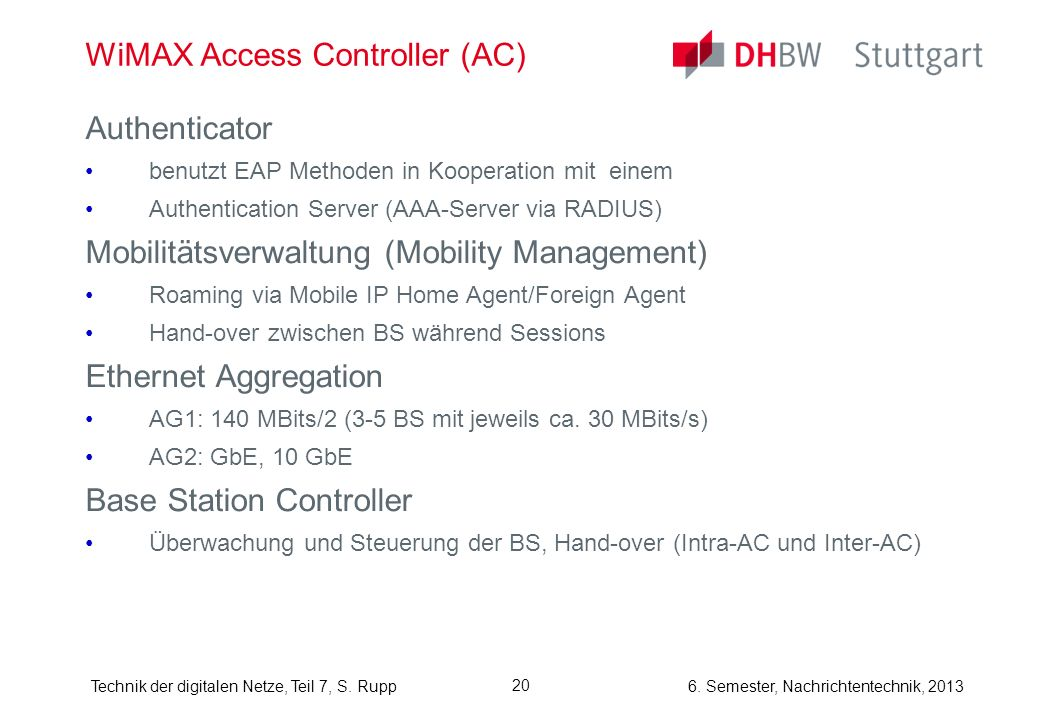 WiMAX Access Controller (AC)