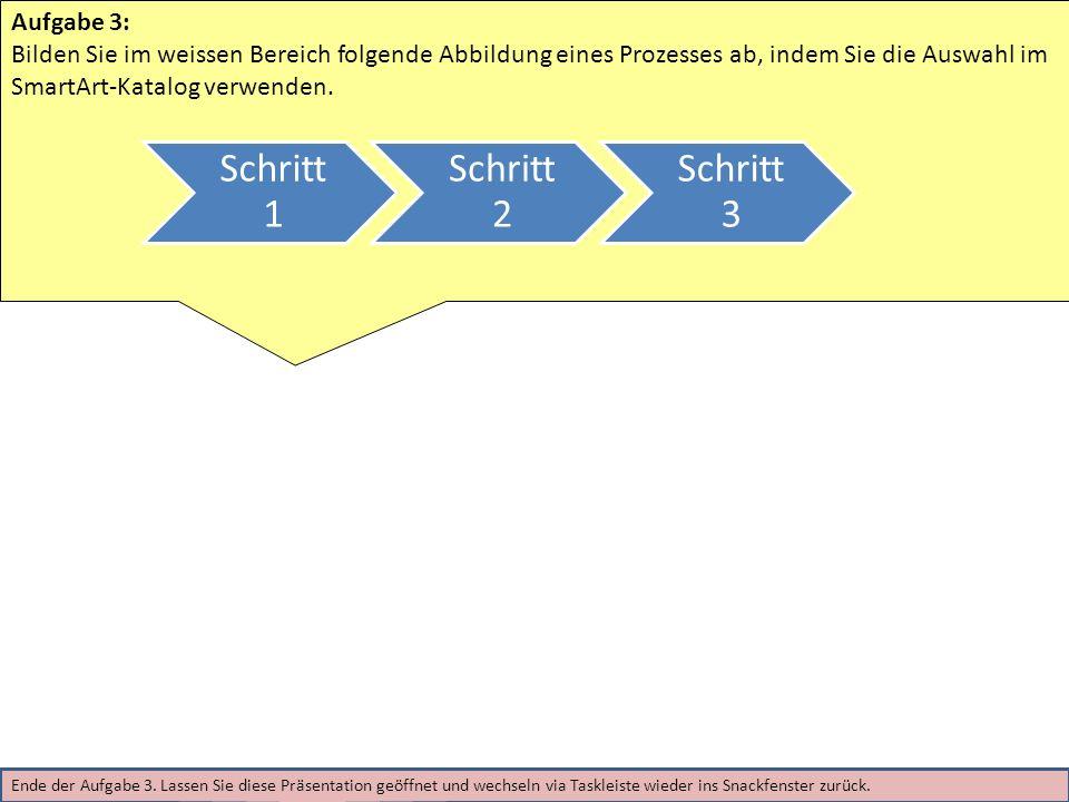 Aufgabe 3: Bilden Sie im weissen Bereich folgende Abbildung eines Prozesses ab, indem Sie die Auswahl im SmartArt-Katalog verwenden.