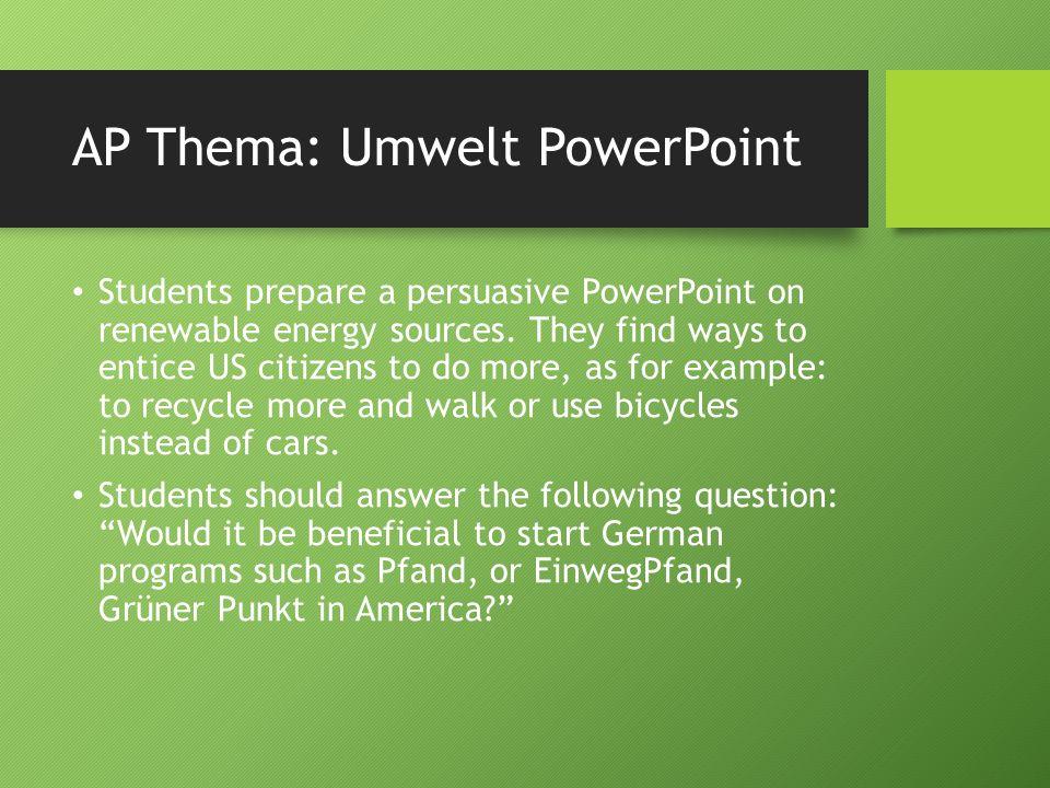 AP Thema: Umwelt PowerPoint