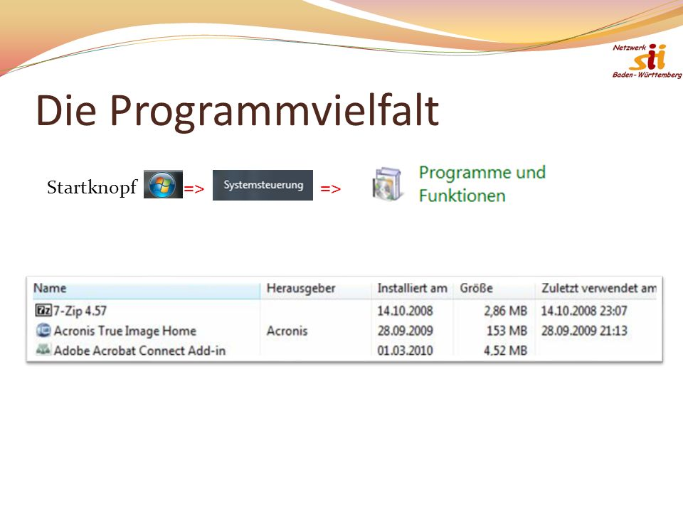 Die Programmvielfalt Startknopf => =>