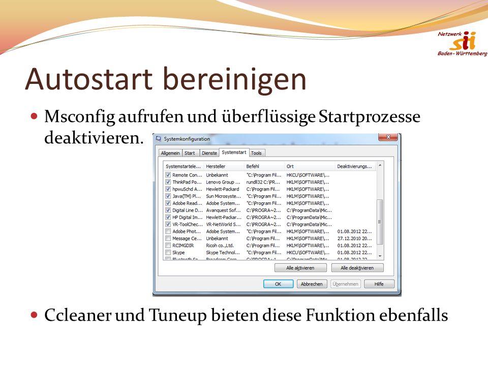 Autostart bereinigen Msconfig aufrufen und überflüssige Startprozesse deaktivieren. Ccleaner und Tuneup bieten diese Funktion ebenfalls.