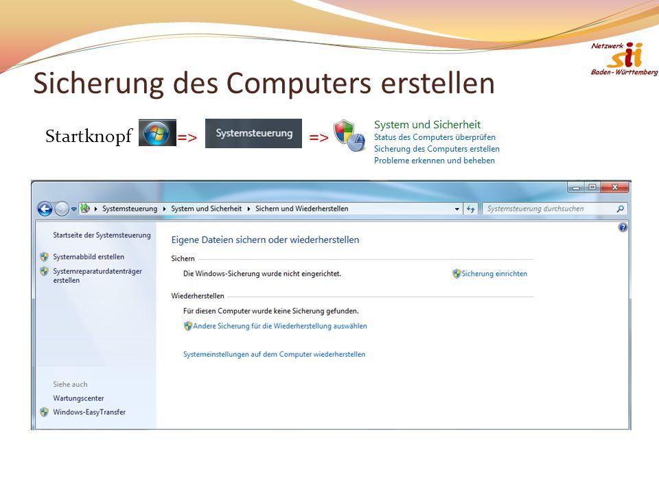 Sicherung des Computers erstellen