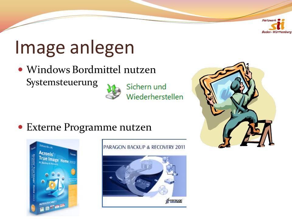 Image anlegen Windows Bordmittel nutzen Systemsteuerung