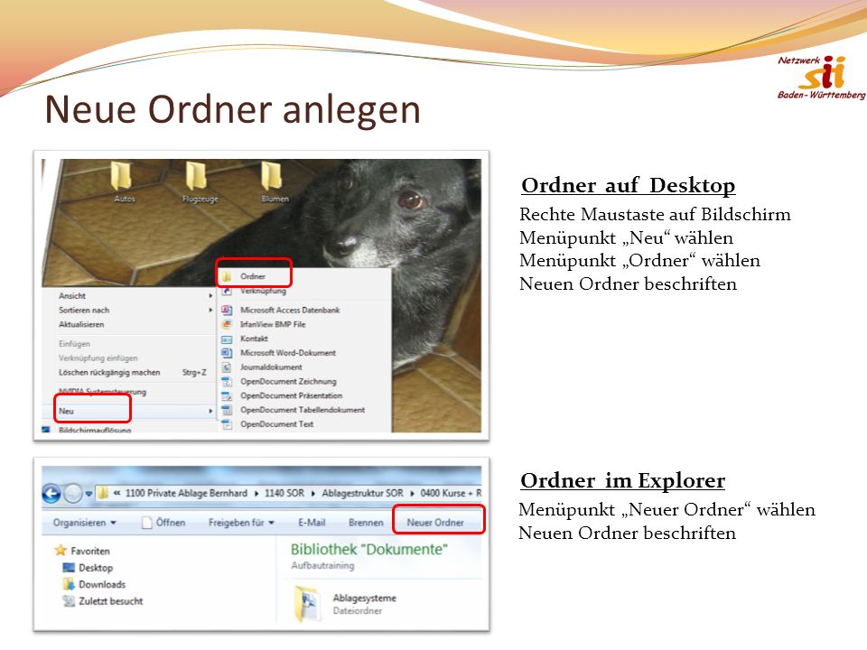 Neue Ordner anlegen Ordner auf Desktop Ordner im Explorer