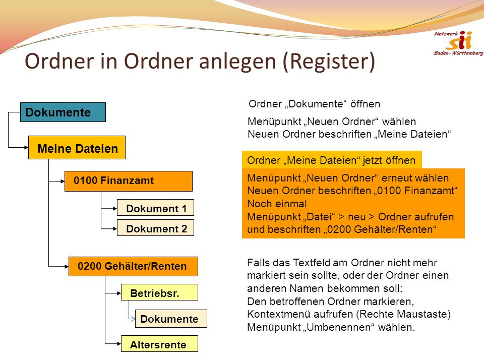 Ordner in Ordner anlegen (Register)