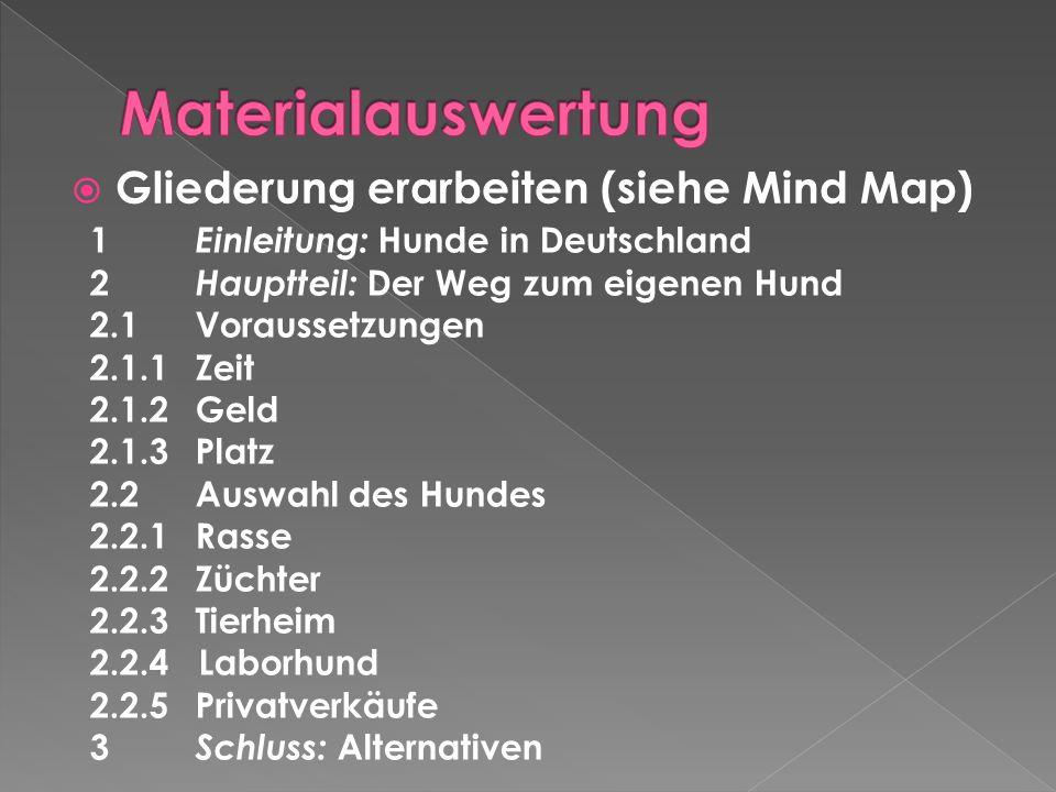 Materialauswertung Gliederung erarbeiten (siehe Mind Map)