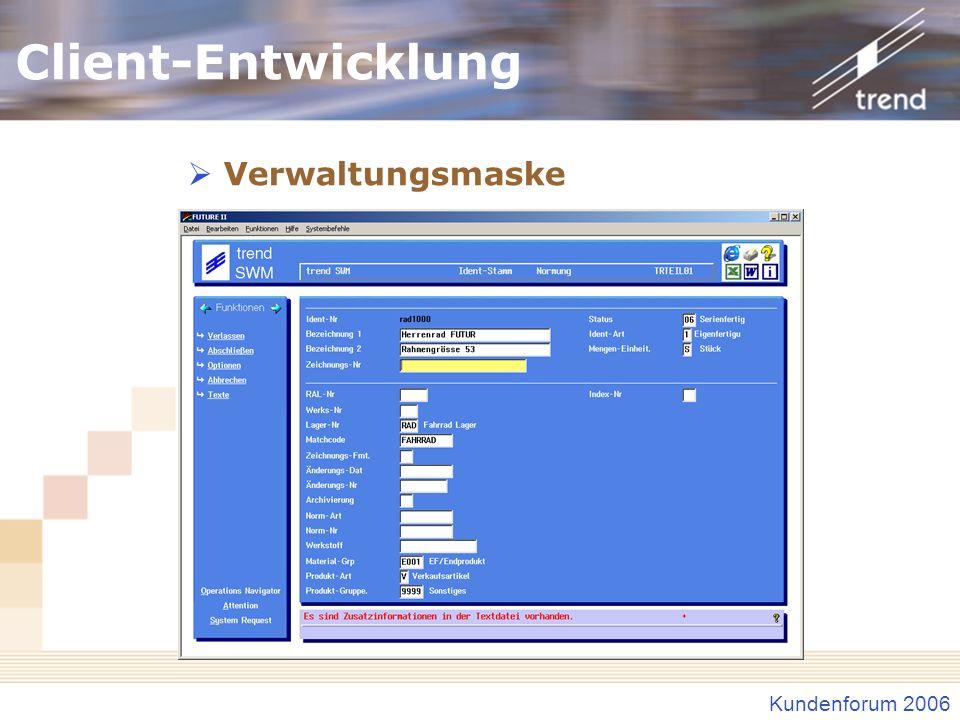 Client-Entwicklung Verwaltungsmaske Verwaltungsmaske