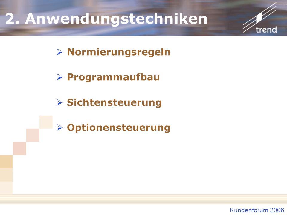 2. Anwendungstechniken Normierungsregeln Programmaufbau