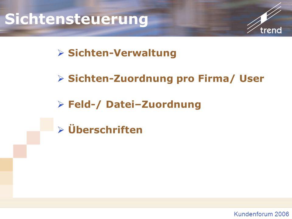 Sichtensteuerung Sichten-Verwaltung Sichten-Zuordnung pro Firma/ User