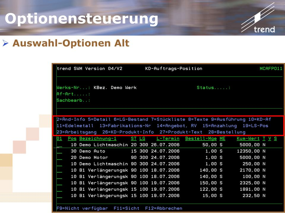 Optionensteuerung Auswahl-Optionen Alt Noch in 04/V2 vorhanden