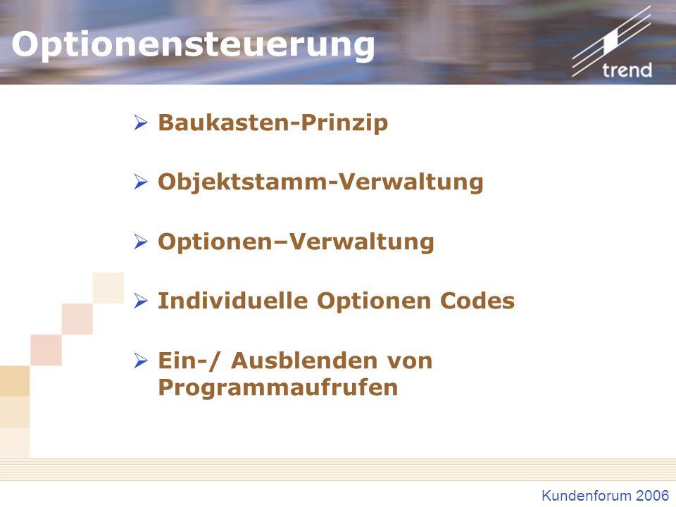 Optionensteuerung Baukasten-Prinzip Objektstamm-Verwaltung