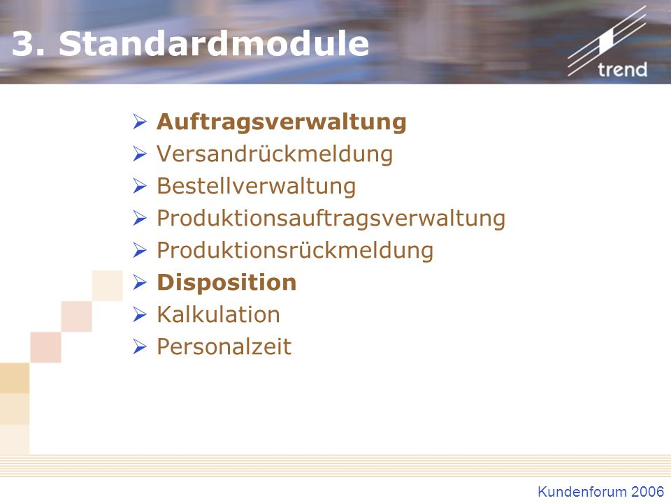 3. Standardmodule Auftragsverwaltung Versandrückmeldung