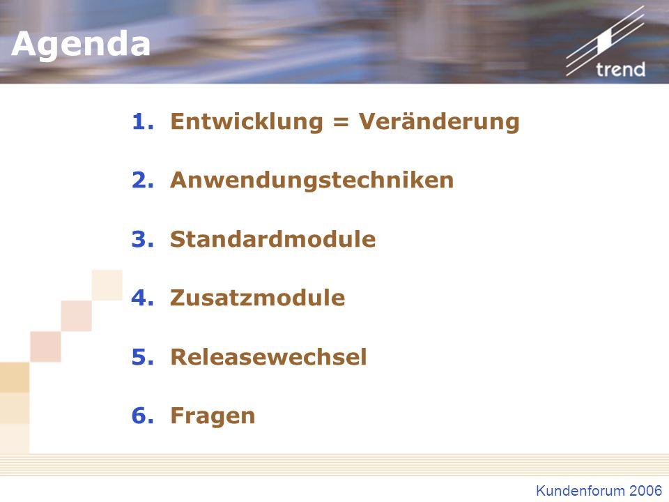 Agenda Entwicklung = Veränderung Anwendungstechniken Standardmodule