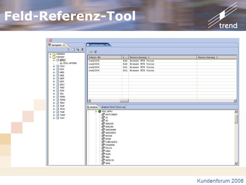 Feld-Referenz-Tool Baumansicht Gefundene Bibliotheken, Dateien, Felder