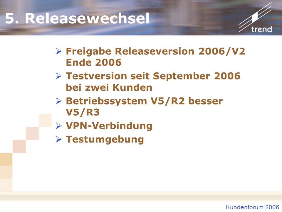 5. Releasewechsel Freigabe Releaseversion 2006/V2 Ende 2006