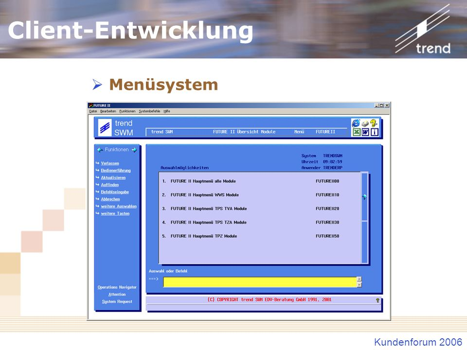 Client-Entwicklung Menüsystem