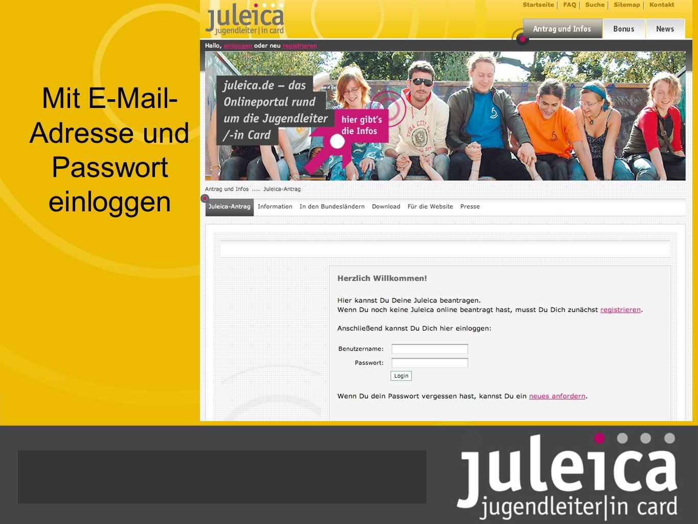 Mit E-Mail-Adresse und Passwort einloggen