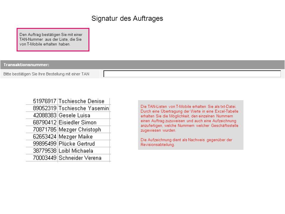 Signatur des Auftrages