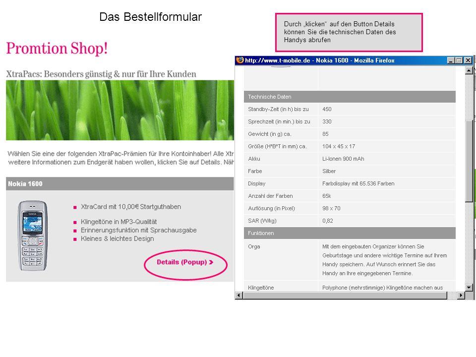 """Das Bestellformular Durch """"klicken auf den Button Details"""