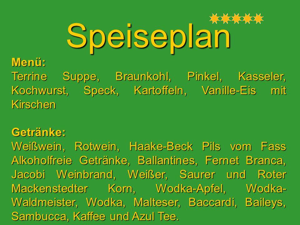 Speiseplan Menü: Terrine Suppe, Braunkohl, Pinkel, Kasseler, Kochwurst, Speck, Kartoffeln, Vanille-Eis mit Kirschen.