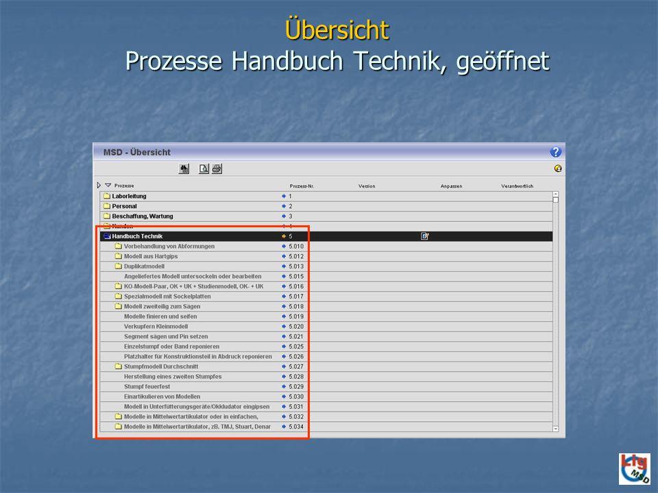 Übersicht Prozesse Handbuch Technik, geöffnet