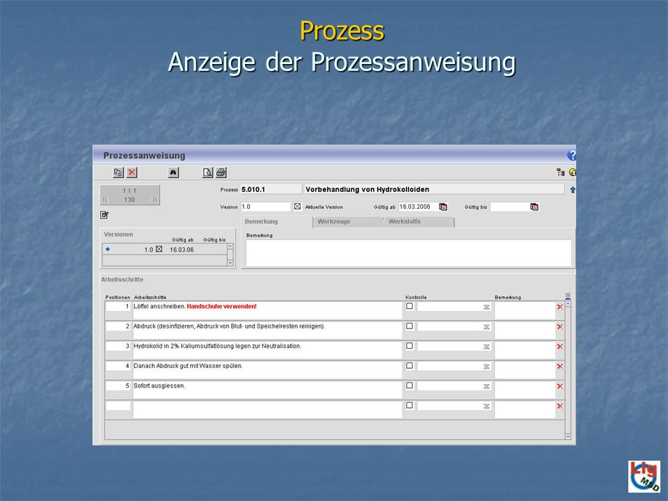 Prozess Anzeige der Prozessanweisung
