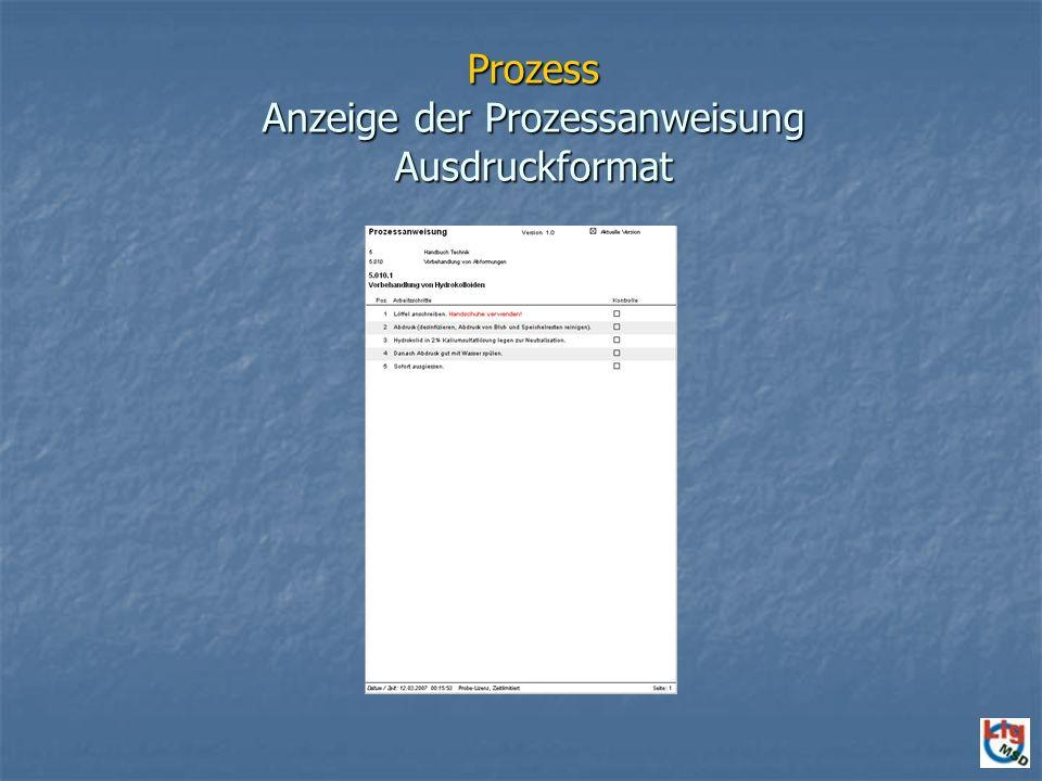 Prozess Anzeige der Prozessanweisung Ausdruckformat