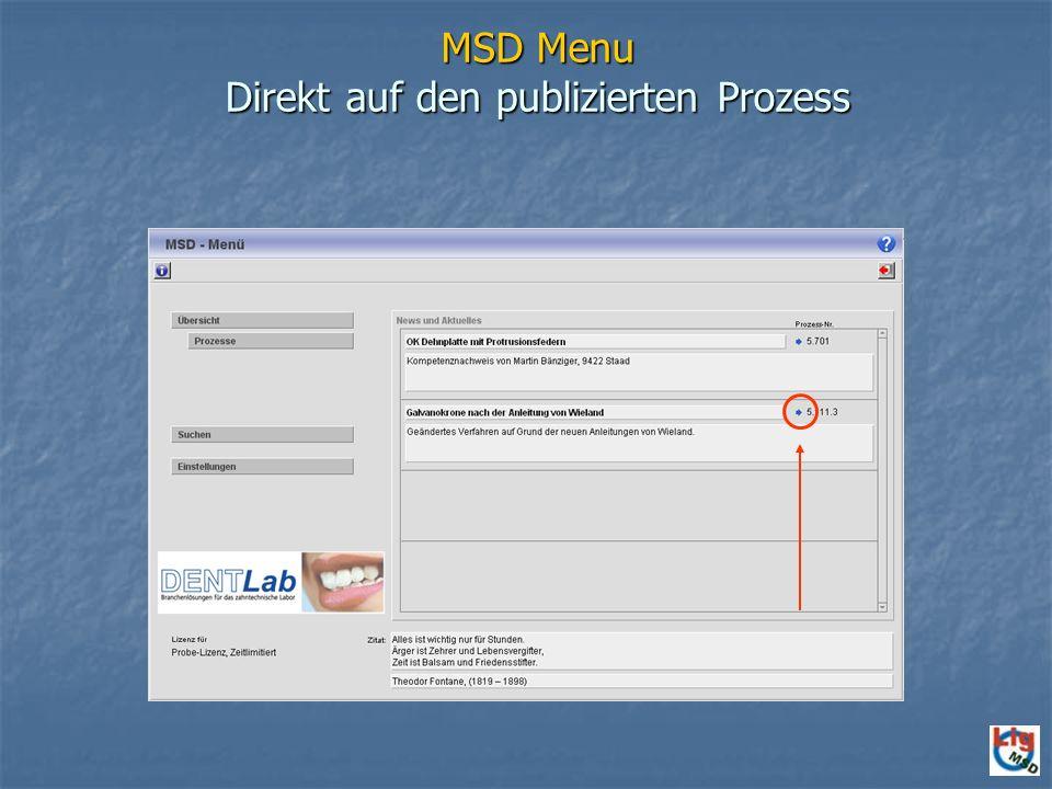 MSD Menu Direkt auf den publizierten Prozess