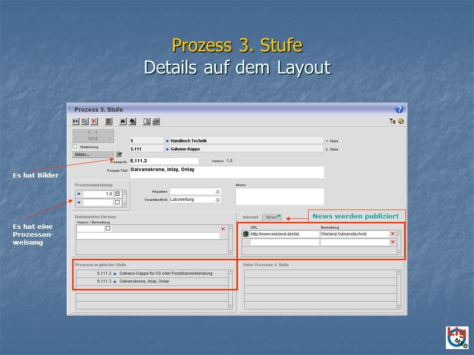 Prozess 3. Stufe Details auf dem Layout