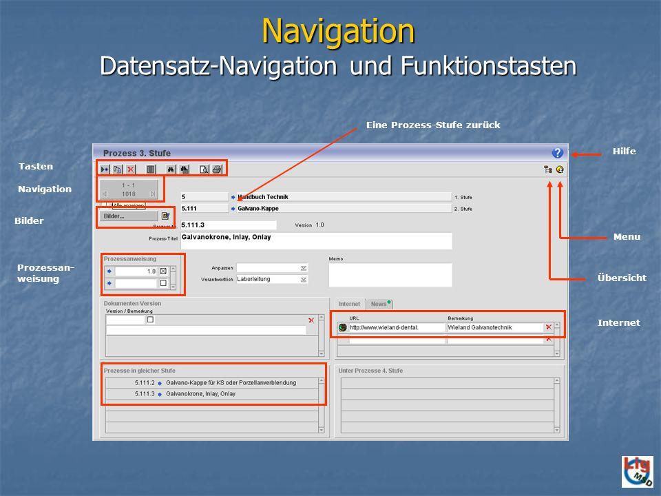 Navigation Datensatz-Navigation und Funktionstasten