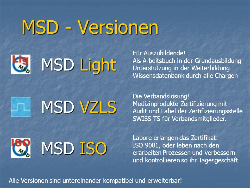 MSD - Versionen MSD Light MSD VZLS MSD ISO Für Auszubildende!