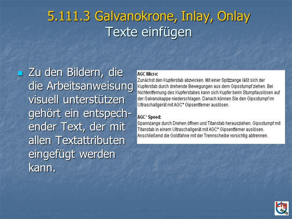 5.111.3 Galvanokrone, Inlay, Onlay Texte einfügen