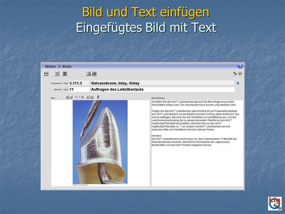 Bild und Text einfügen Eingefügtes Bild mit Text