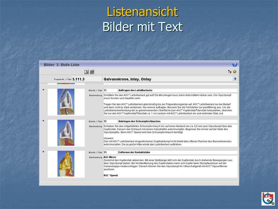 Listenansicht Bilder mit Text