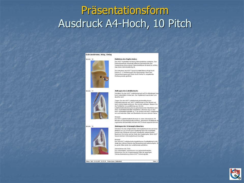 Präsentationsform Ausdruck A4-Hoch, 10 Pitch