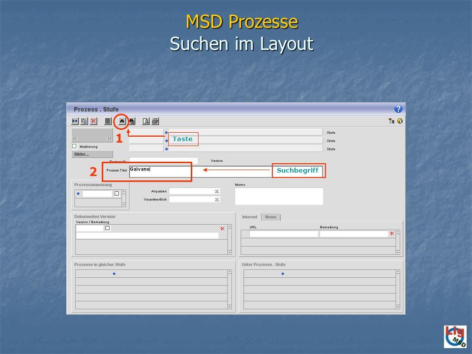 MSD Prozesse Suchen im Layout
