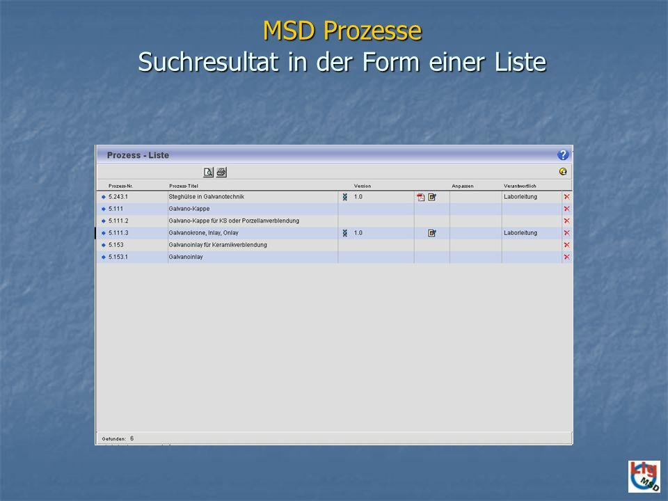 MSD Prozesse Suchresultat in der Form einer Liste