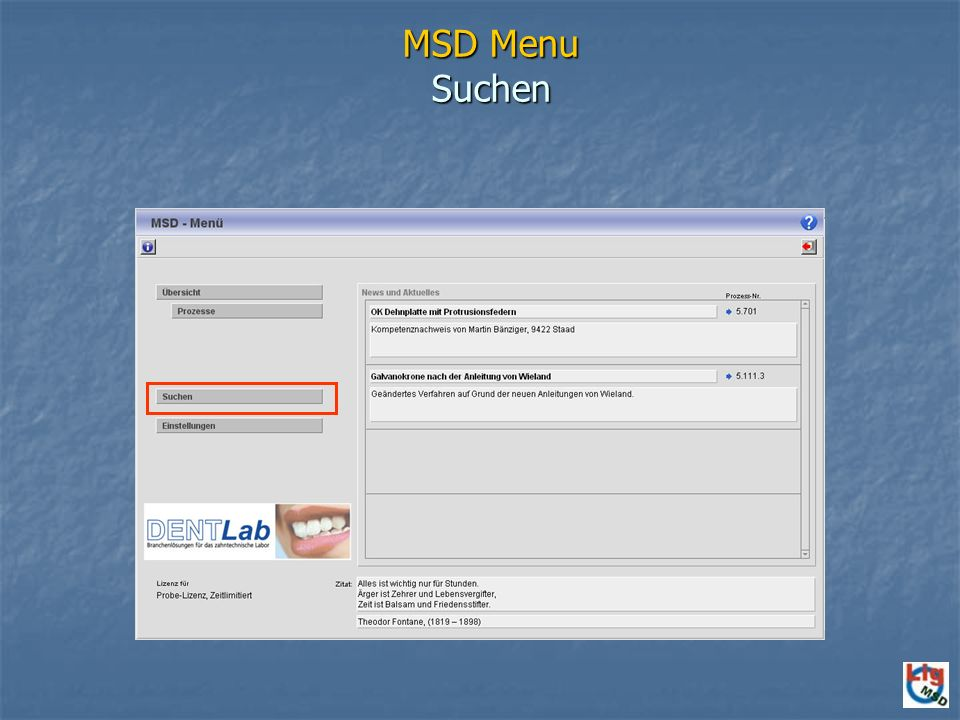 MSD Menu Suchen