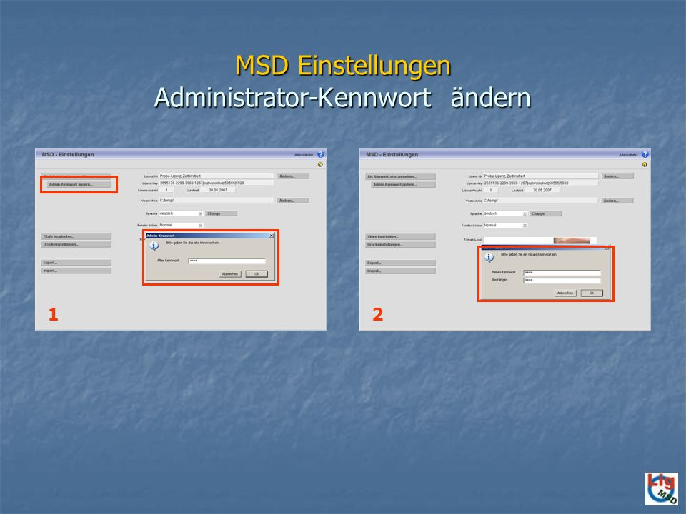MSD Einstellungen Administrator-Kennwort ändern
