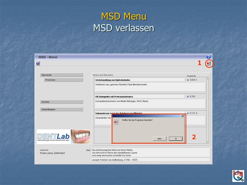 MSD Menu MSD verlassen 1 2