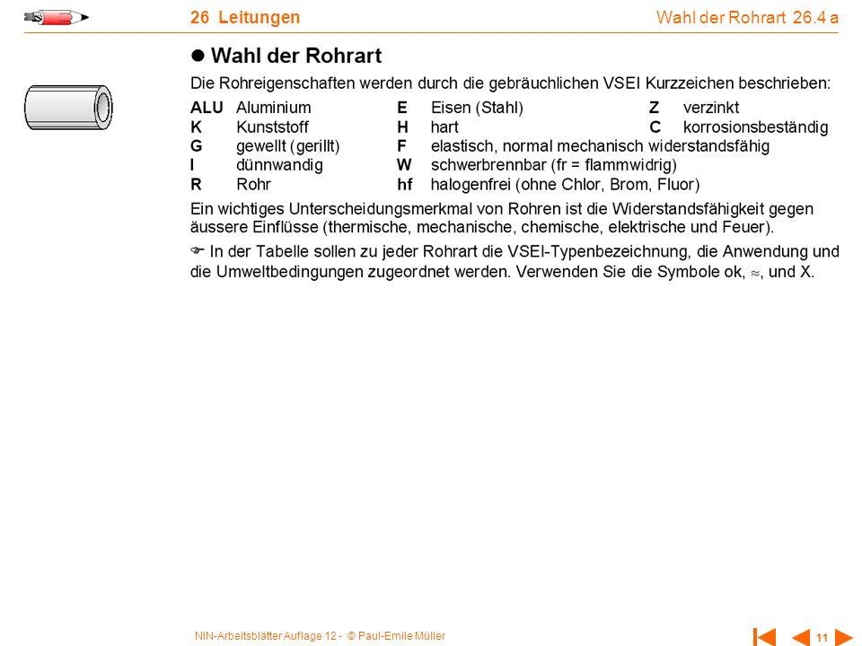 26 Leitungen Wahl der Rohrart 26.4 a
