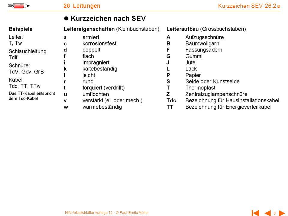 26 Leitungen Kurzzeichen SEV 26.2 a