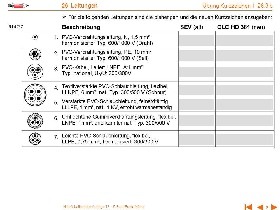 26 Leitungen Übung Kurzzeichen 1 26.3 b