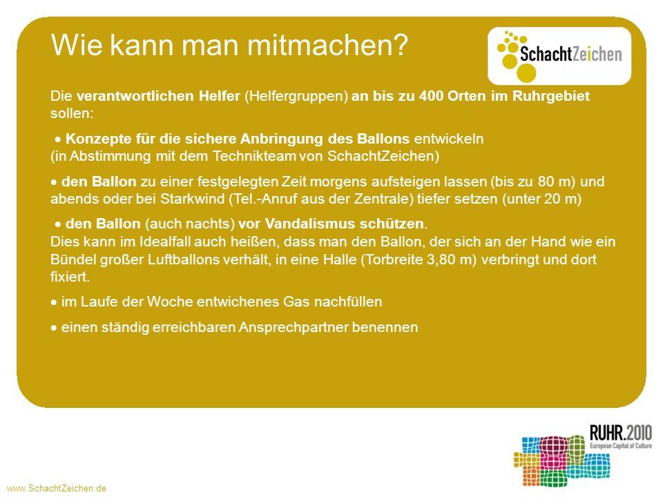 Wie kann man mitmachen Die verantwortlichen Helfer (Helfergruppen) an bis zu 400 Orten im Ruhrgebiet sollen: