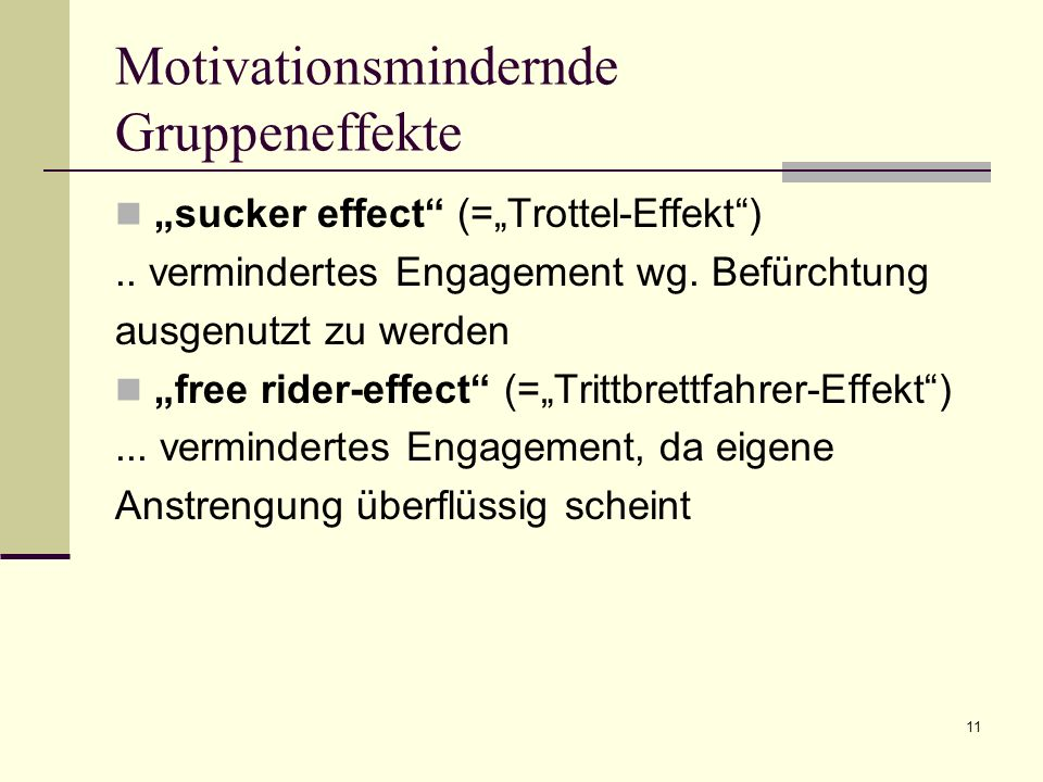 Motivationsmindernde Gruppeneffekte