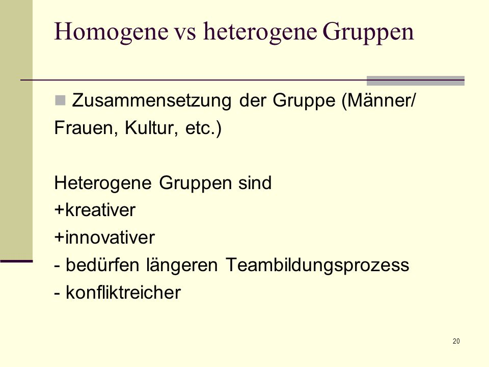 Homogene vs heterogene Gruppen