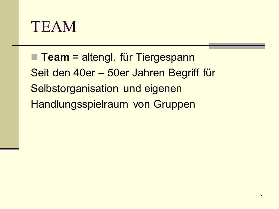 TEAM Team = altengl. für Tiergespann