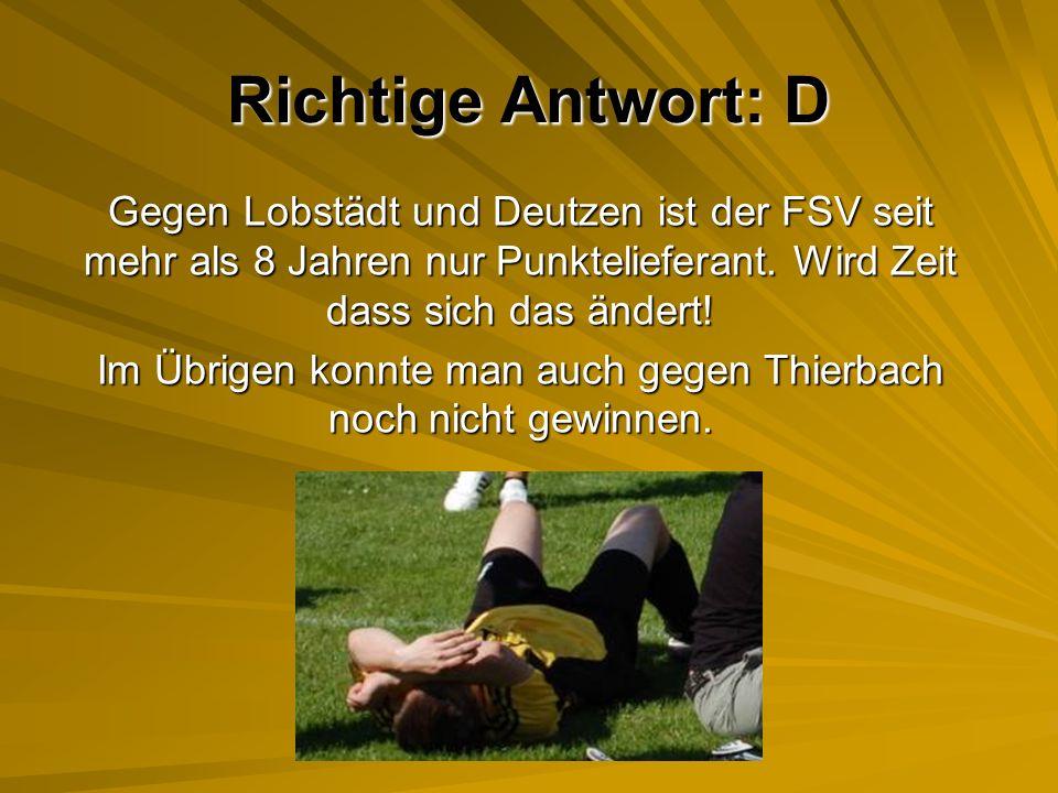 Im Übrigen konnte man auch gegen Thierbach noch nicht gewinnen.
